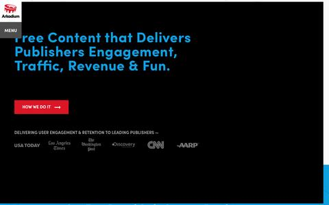 Screenshot of Home Page arkadium.com - Helping Publishers Increase User Retention, Engagement & Revenue - captured July 3, 2016