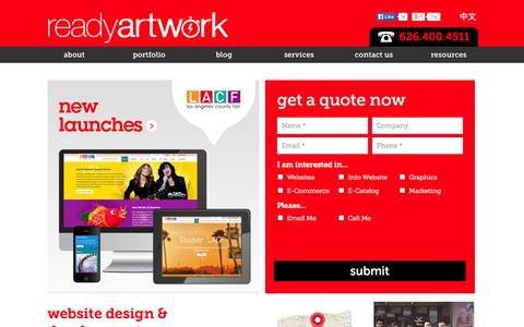 Screenshot of Home Page readyartwork.com - Website Design Los Angeles | Social Media & SEO Marketing Company - captured Sept. 24, 2014