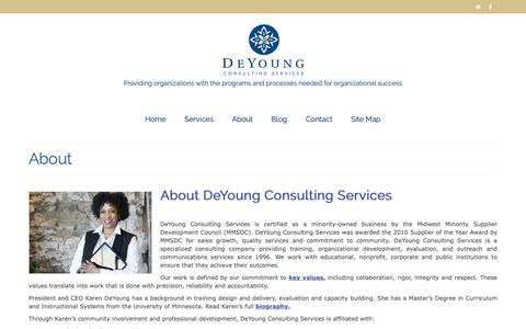 Screenshot of About Page deyoungconsultingservices.com - About - DeYoung Consulting Services, Minneapolis, Minnesota | Nationally Serving Nonprofits and Public Sector Clients - captured Oct. 8, 2018