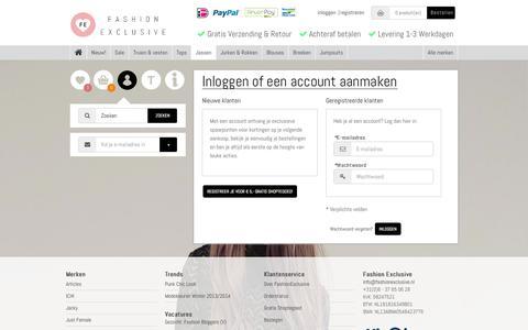 Screenshot of Login Page fashionexclusive.nl - Fashion Exclusive - captured Nov. 2, 2014