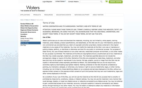 Screenshot of Terms Page waters.com - Terms of Use : Waters - captured April 15, 2018