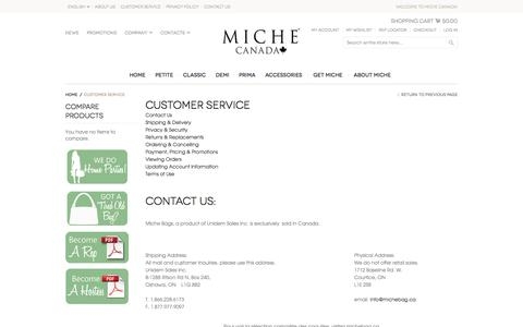 Screenshot of Support Page michebag.ca - Customer Service - captured Feb. 13, 2016