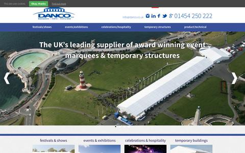 Screenshot of Home Page danco.co.uk - Danco Plc, Temporary Structure & Marquee Hire across the UK : Danco - captured Feb. 9, 2016
