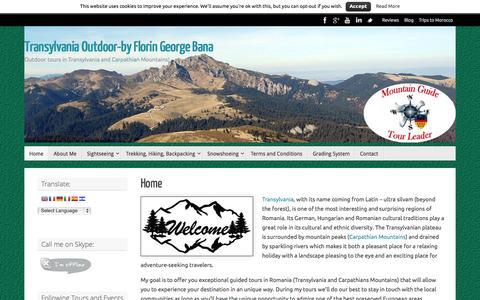 Screenshot of Home Page transylvaniaoutdoor.com - Transylvania Outdoor-by Florin George Bana - captured Oct. 7, 2014