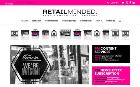 Screenshot of Home Page retailminded.com - Retail Minded: Retail news, education and support. - captured Nov. 19, 2018