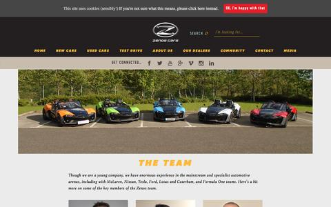 Screenshot of Team Page zenoscars.com - The team - Zenos Cars - captured Aug. 11, 2016