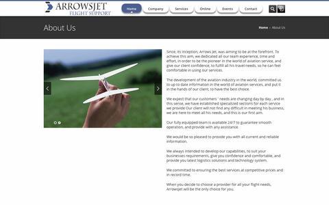 Screenshot of About Page arrowsjet.com - Arrowsjet Flight Support - captured Oct. 4, 2014