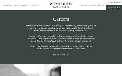 Screenshot of Jobs Page westburygardenrooms.com - Careers | Westbury Garden Rooms - captured Oct. 20, 2018