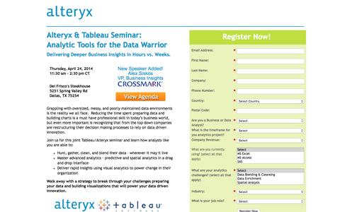 Screenshot of Landing Page alteryx.com - Analytic Tools for the Data Warrior - captured Aug. 6, 2016