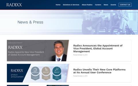 Screenshot of Press Page radixx.com - News & Press | Radixx - captured Oct. 18, 2018