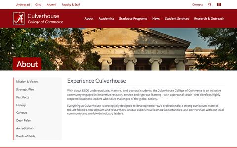 Screenshot of About Page ua.edu - The Culverhouse College of Commerce - captured May 7, 2017