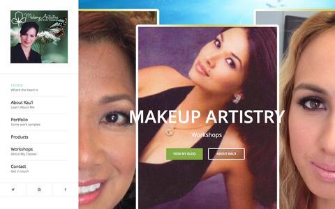 Screenshot of Home Page makeupartistryworkshops.com - Makeup Artistry for Every Woman   Kau'i Alapa - captured Feb. 3, 2016