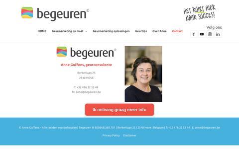 Screenshot of Contact Page begeuren.be - Contacteer Begeuren voor geuradvies - captured Oct. 19, 2018