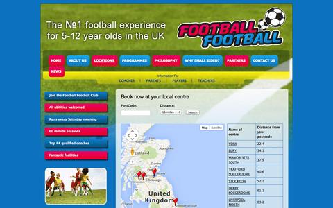 Screenshot of Locations Page footballfootball.org - Book now at your local centre | Football Football - captured Sept. 30, 2014