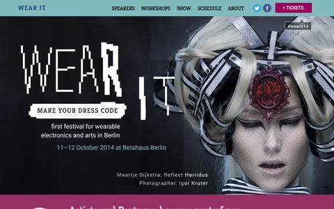 Screenshot of Home Page wearit-berlin.com - Wear It | festival for wearable electronics in Berlin - captured Jan. 30, 2015
