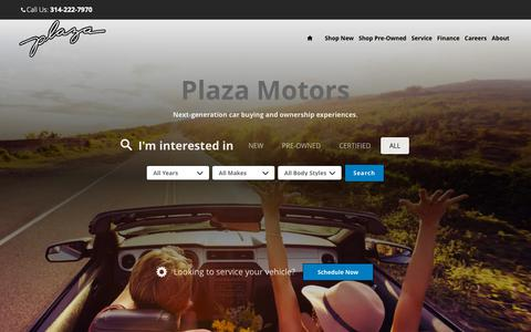Screenshot of Home Page plazamotors.com - Plaza Motors Group | New & Used Luxury Cars For Sale St Louis MO - captured Sept. 28, 2018
