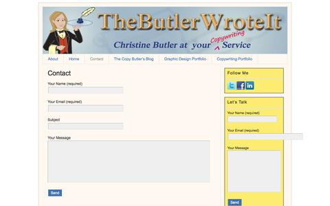 Screenshot of Contact Page thebutlerwroteit.com - Contact | The Butler Wrote It - captured Oct. 3, 2014