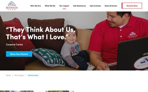 Screenshot of Testimonials Page semperfifund.org - Testimonials | Semper Fi Fund - captured Jan. 18, 2018