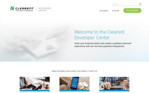 Screenshot of Developers Page clearent.com - Home - Clearent Developer Website - captured July 17, 2019