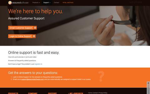Screenshot of Support Page assuredsoftware.com - Product Help - Assured Software - captured Oct. 4, 2018