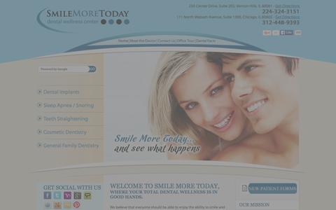 Screenshot of Home Page smilemoretoday.com - Dentist Vernon Hills - Cosmetic Dentistry Vernon Hills, IL - Dental Implant Vernon Hills - Sleep Apnea Treatment Vernon Hills - captured Jan. 11, 2016