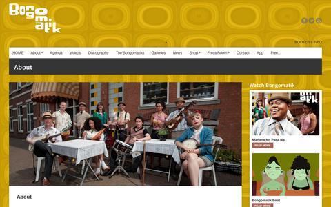 Screenshot of About Page bongomatik.com - About     Bongomatik - captured Sept. 30, 2014