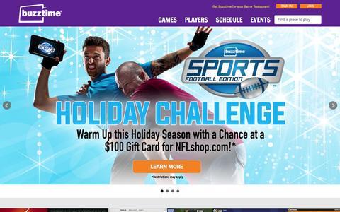 Screenshot of Home Page buzztime.com - Buzztime | Bar Trivia, Live Trivia, Cards & Sports Games - captured Dec. 14, 2015