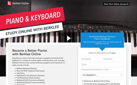Screenshot of Landing Page berklee.edu - Study Piano with Berklee Online - captured Nov. 10, 2017