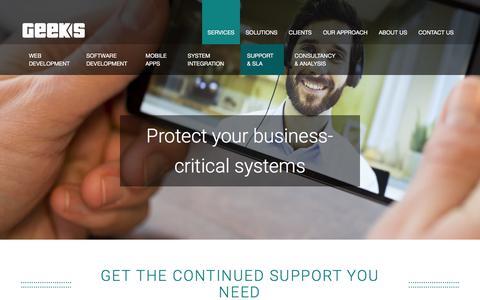 Screenshot of Support Page geeks.ltd.uk - Support and Software Maintenance Services  | Geeks - captured Sept. 2, 2017