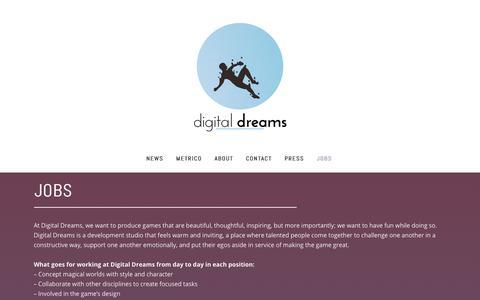 Screenshot of Jobs Page digitaldreamsgames.com - Digital Dreams |   Jobs - captured Oct. 12, 2017