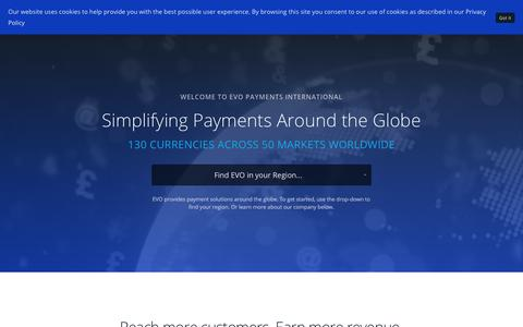 Screenshot of Home Page evopayments.com - EVO Payments International - Global Home | EVO Payments International - captured Sept. 23, 2018