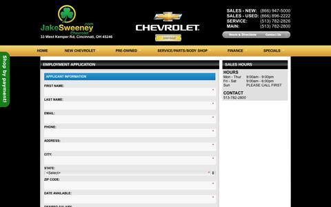 Screenshot of Jobs Page jakesweeneychevrolet.com - Jake Sweeney Chevrolet Career Opportunities Cincinnati | Chevrolet Jobs in Cincinnati OH | Automotive Career Opportunities West Chester | Chevrolet Dealer Fairfield - captured Oct. 6, 2014