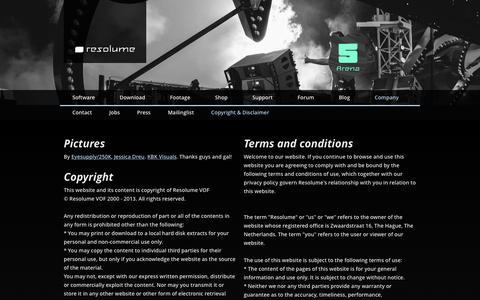 Screenshot of Terms Page resolume.com - Copyright & Disclaimer - Resolume VJ Software - captured Nov. 23, 2015