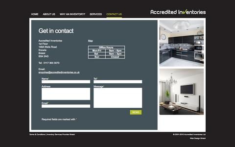 Screenshot of Contact Page accreditedinventories.co.uk - Inventory Bristol, Inventories Bristol | Contact Accredited Inventories Bristol - captured Sept. 30, 2014