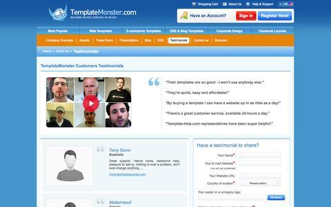 Screenshot of Testimonials Page templatemonster.com - Testimonials   Template Monster - Website Templates - captured Oct. 26, 2014