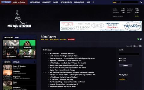 Screenshot of Press Page metalstorm.net - Metal news - Metal Storm - captured Sept. 23, 2014