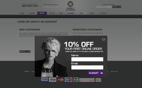 Screenshot of Login Page nickyclarke.com - Customer Login - captured Oct. 29, 2014