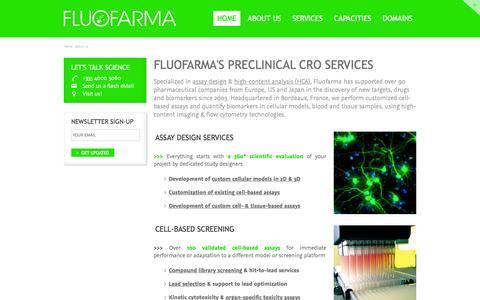 Screenshot of About Page fluofarma.com - Preclinical CRO Europe : Fluofarma, the Assay Design & HCA company - captured Jan. 8, 2016