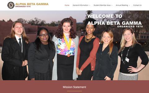Screenshot of Home Page abg.org - Alpha Beta Gamma - captured Jan. 28, 2018