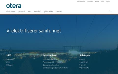 Screenshot of Home Page otera.no - Otera - captured Oct. 9, 2014