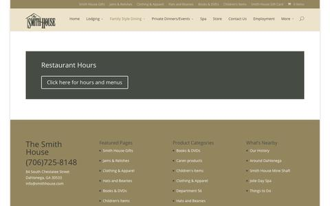 Screenshot of Hours Page smithhouse.com - Hours – The Smith House - captured Oct. 23, 2017
