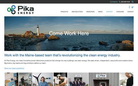 Screenshot of Jobs Page pika-energy.com - Work at Pika Energy - Pika Energy - captured May 18, 2017