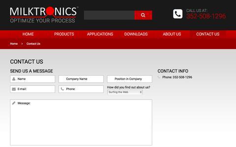 Screenshot of Contact Page milktronics.com - Contact Us   Milktronics - captured Nov. 8, 2017
