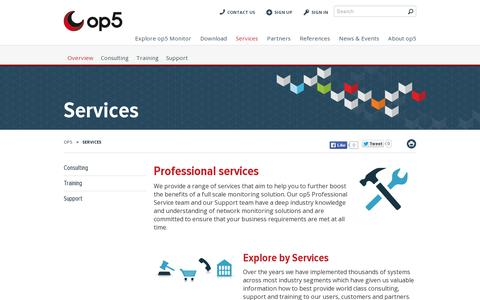 Screenshot of Services Page op5.com - Services - op5 - captured July 20, 2014