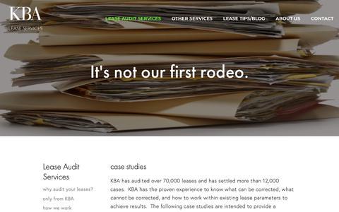 Screenshot of Case Studies Page kbalease.com - proof — KBA Lease Services - captured Oct. 14, 2018