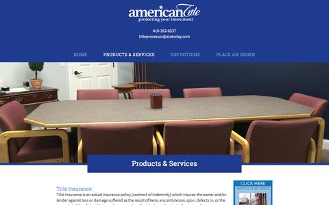 Screenshot of Products Page atatoday.com - Products & Services | American Title Agency | Bowling Green, OH - captured Feb. 6, 2016