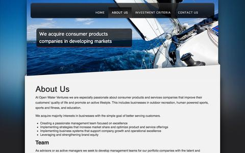 Screenshot of About Page openwaterventures.com - About Us | Open Water Ventures - captured Sept. 21, 2018