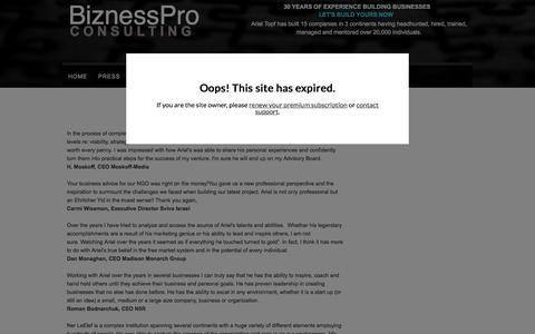 Screenshot of Testimonials Page biznesspro.com - BiznessPro - Testimonials - captured Jan. 4, 2016