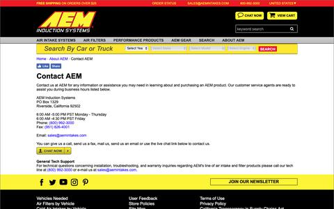 Screenshot of Contact Page aemintakes.com - Contact AEM Induction Systems - Performance Air Intakes - captured Nov. 6, 2018