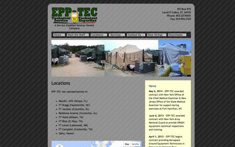 Screenshot of Locations Page epptec.com - EPP-TEC - Locations - captured Sept. 26, 2014